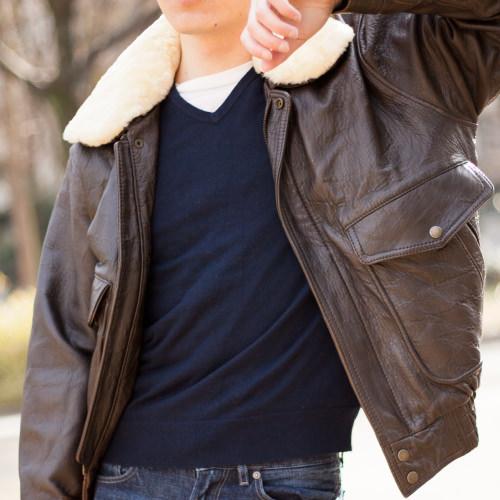レザージャケット 古着コーデ 誰もが一度は憧れるレザーコーディネート!G-1で今のトレンドスタイルに アップ写真